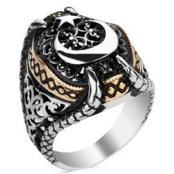 Anı Yüzük - Ay Yıldızlı Pençeli Taşsız Gümüş Erkek Yüzüğü