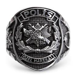 Ay Yıldızlı Taşsız Polis Özel Harekat Yüzüğü (Büyük Boy) - Thumbnail