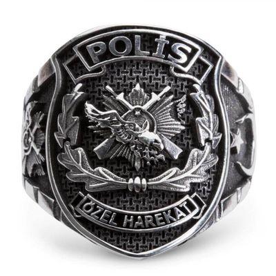 Ay Yıldızlı Taşsız Polis Özel Harekat Yüzüğü (Büyük Boy)