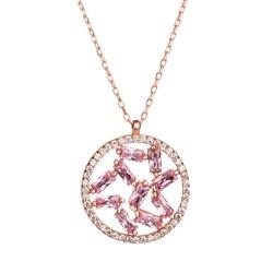 Anı Yüzük - Baget Taşlı Işıltı Küresi Rose Renk Gümüş Bayan Kolye