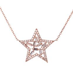 Anı Yüzük - Baget Taşlı Yıldız Parıltısı Gümüş Bayan Kolye