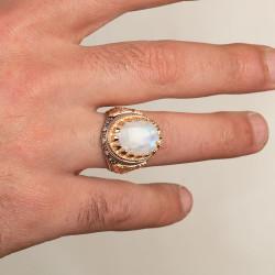 Beyaz Akik Taşlı Simetrik Desenli Gümüş Erkek Yüzük - Thumbnail