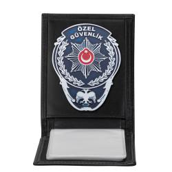 Beyaz Renk Özel Güvenlik Rozetli Yatay Kartlık Cüzdan Siyah - Thumbnail