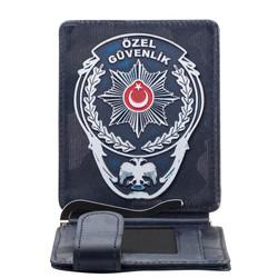 Beyaz Renk Özel Güvenlik Rozetli Para Tokalı Kartlık Cüzdan Kamuflaj Lacivert - Thumbnail