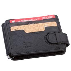 Beyaz Renk Özel Güvenlik Rozetli Para Tokalı Kartlık Cüzdan Siyah - Thumbnail