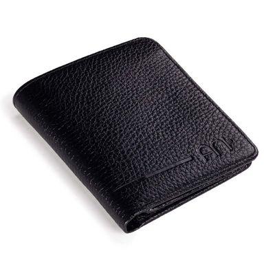 Beyaz Renk Özel Güvenlik Rozetli Katlamalı Klasik Cüzdan Siyah