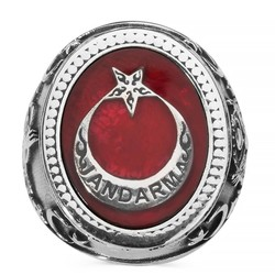 Anı Yüzük - Bir Ölür Bin Diriliriz Yazılı Jandarma Yüzüğü