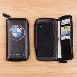 Anı Yüzük - BMW Logosu Baskılı Erkek Deri Cüzdan