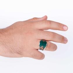 Bombeli Yeşil Akik Taşlı Tuğralı Modern Gümüş Erkek Yüzük - Thumbnail