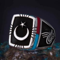 Bordo-Mavi İşlemeli Ay Yıldızlı Gümüş Erkek Yüzük - Thumbnail