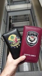 Kişiye Özel Bordo Renk Fermuarlı Deri Büyük Unisex Kartlık Cüzdan - Thumbnail