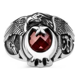 Anı Yüzük - Bozkurtlu Tek Kartal Başlı Astsubay Yüzüğü