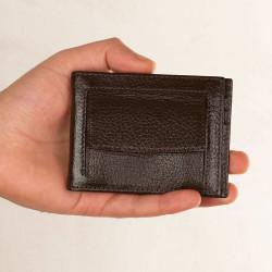 Bozuk Para Bölmeli Para Tokalı Deri Kartlık Kahverengi - Thumbnail