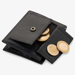 Bozuk Para Bölmeli Para Tokalı Deri Kartlık Lacivert - Thumbnail