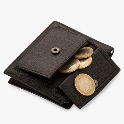 Bozuk Para Bölmeli Para Tokalı Deri Kartlık Siyah