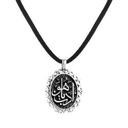 Anı Yüzük - Edeb Ya Hu Yazılı Siyah Gümüş Erkek Kolye