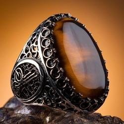 Büyük Kaplangözü Taşlı Osmanlı Tuğralı Erkek Gümüş Yüzük - Thumbnail