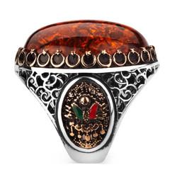 Büyük Sentetik Taşlı Osmanlı Armalı Erkek Gümüş Yüzük - Thumbnail