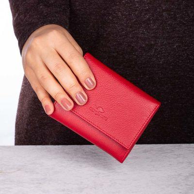 Cangurione Hakiki Deri Bozuk Para Bölmeli Kadın Cüzdanı Kırmızı
