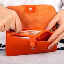 Cangurione Hakiki Deri Çıtçıtlı Büyük Kadın Cüzdanı Turuncu - Thumbnail
