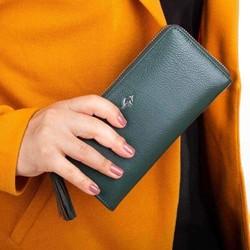 Cangurione Hakiki Deri İçten Fermuarlı Uzun Kadın Cüzdanı Koyu Yeşil - Thumbnail