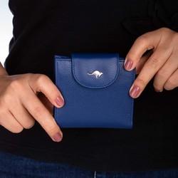 Cangurione Hakiki Deri Katlamalı Bozuk Para Bölmeli Kadın Cüzdanı Mavi - Thumbnail