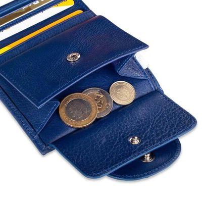 Cangurione Hakiki Deri Katlamalı Bozuk Para Bölmeli Kadın Cüzdanı Mavi
