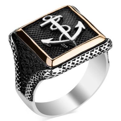 Çapalı Kare Tasarım Erkek Gümüş Yüzüğü