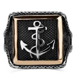 Çapalı Kare Tasarım Erkek Gümüş Yüzüğü - Thumbnail