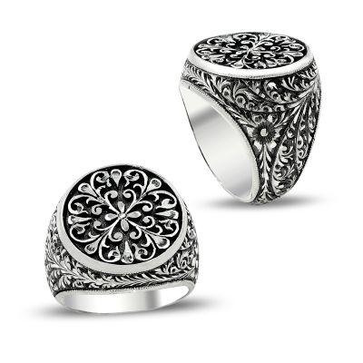 Çiçek Desen Kalem İşlemeli Erzurum El İşi Gümüş Yüzük