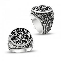 Çiçek Desen Kalem İşlemeli Erzurum El İşi Gümüş Yüzük - Thumbnail
