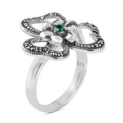 Anı Yüzük - Çiçek Model Mini Yeşil Taş Detaylı Gümüş Bayan Yüzük