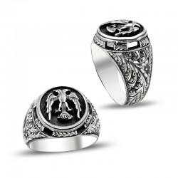 Anı Yüzük - Çift Başlı Kartal Motifli Erzurum El İşi Gümüş Yüzük