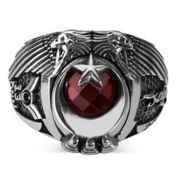 Çift Kartal Başlı Kara Kuvvetleri Astsubay Yüzüğü - Thumbnail