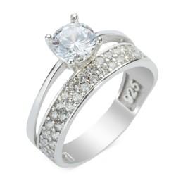 Çift Sıra Taşlı Tek Taş Yüzüğü - Thumbnail