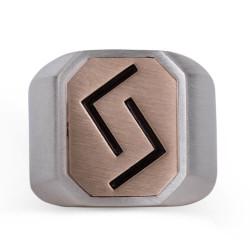 Çift Taraflı Çukur Karakuzular Yüzüğü Gümüş-Bronz - Thumbnail