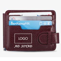 Çift Taraflı Para Tokalı Kartlık Taraftar Cüzdanı Bordo-Mavi - Thumbnail