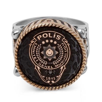 Çift Taraflı Polis Yüzüğü (Polis Arması - Çift Başlı Kartal)