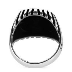 Özel Çizgi Tasarımlı Erkek Gümüş Yüzük - Thumbnail