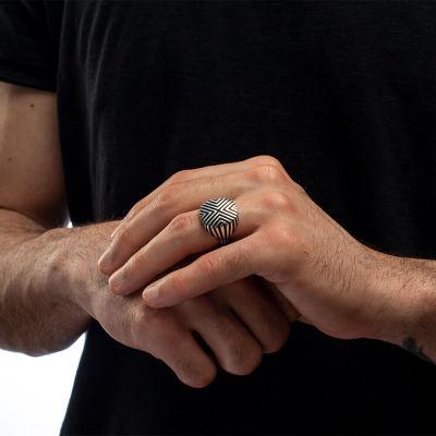 Özel Çizgi Tasarımlı Erkek Gümüş Yüzük