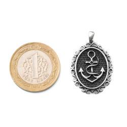 Denizci Çapası Figürlü Gümüş Erkek Kolye - Thumbnail