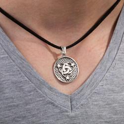Devlet-Ebed-Müddet Motifli Gümüş Erkek Kolye - Thumbnail