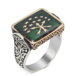 Dikdörtgen Kesim Gümüş Çerkes Yüzüğü - Thumbnail