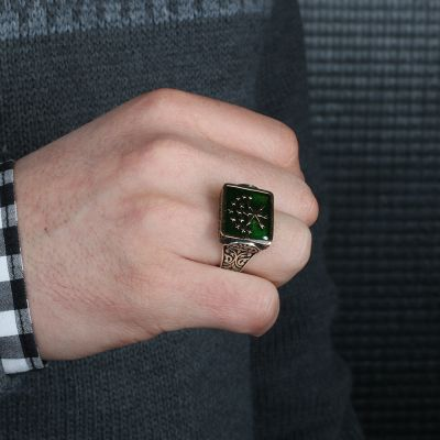 Dikdörtgen Kesim Gümüş Çerkes Yüzüğü