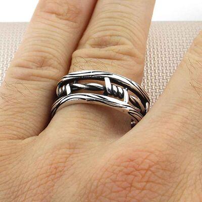 Dikenli Tel Tasarımlı 925 Ayar Gümüş Tek Alyans