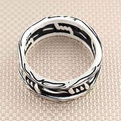Dikenli Tel Tasarımlı 925 Ayar Gümüş Tek Alyans - Thumbnail