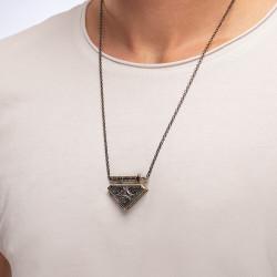Diriliş Ertuğrul Çift Taraflı Gümüş Muska Kolye - Thumbnail