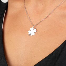 Dört Yapraklı Yonca Bayan Gümüş Kolye - Thumbnail