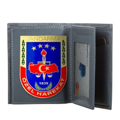 Mavi Renk Jandarma Özel Harekat Rozetli Klasik Cüzdan Kamuflaj Desen