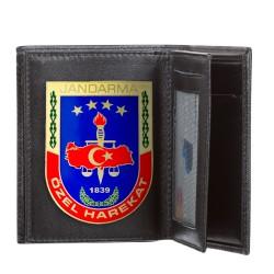 Mavi Renk Jandarma Özel Harekat Rozetli Klasik Cüzdan Kamuflaj Desen - Thumbnail